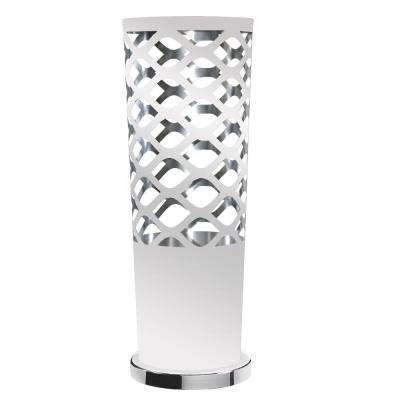 Countess 1-Light 21 in. White on Silver Table Lamp