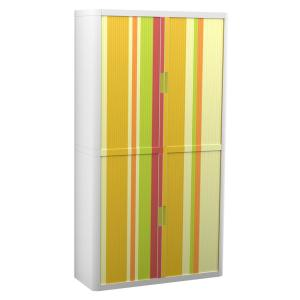 Paperflow easyOffice 80 in. Tall with 4-Shelves Storage Cabinet in Yellow Green and Red Vertical Stripe