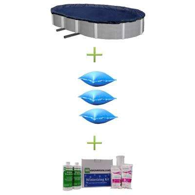 18 ft. x 38 ft. Blue Oval Above Ground Swimming Pool Winter Cover Plus Air Pillows Plus Winterizing Kit