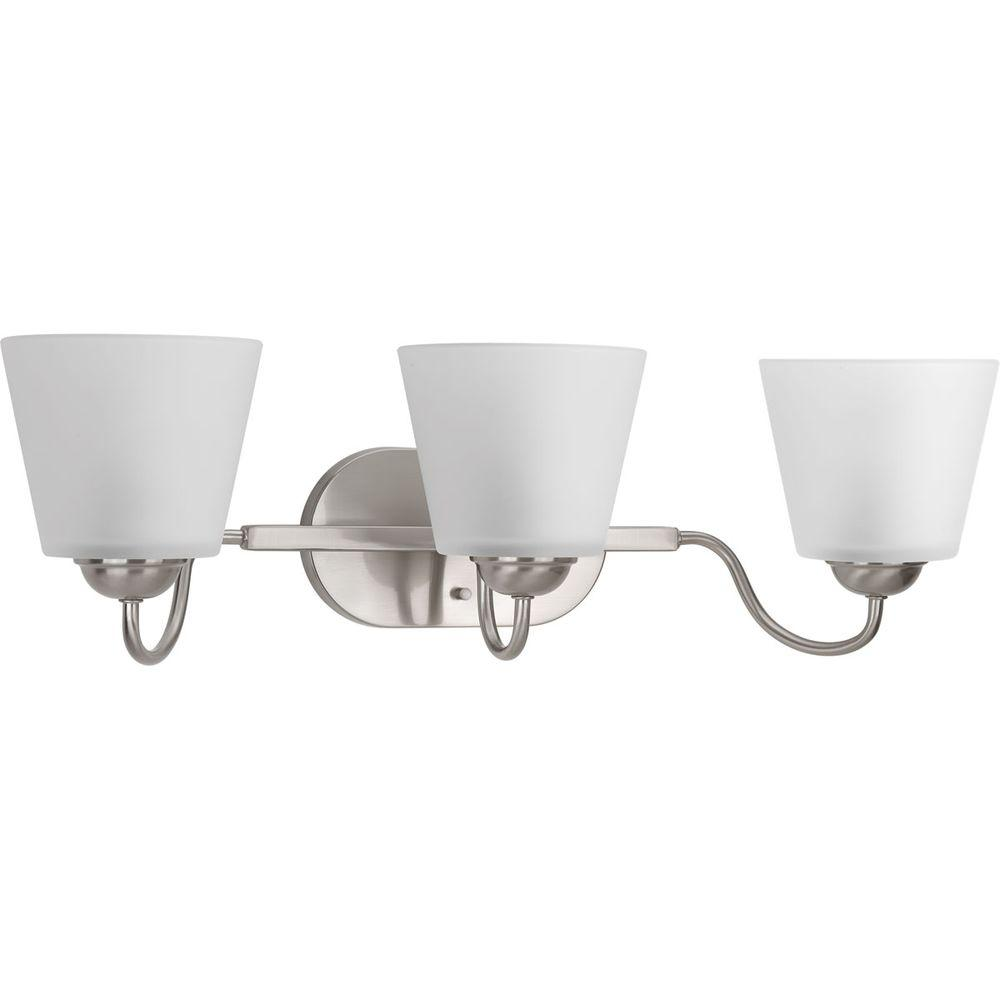 Arden Collection 3-Light Brushed Nickel Vanity Light with Etched Glass Shades