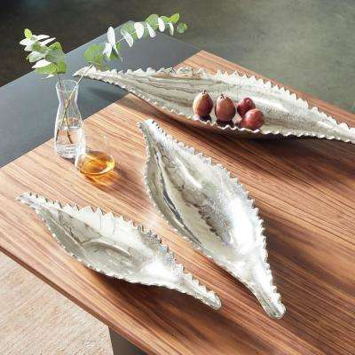 37 in., 33 in., 21 in. Long Decorative Silver Metal Boat Dishes with Jagged Silhouettes (Set of 3)