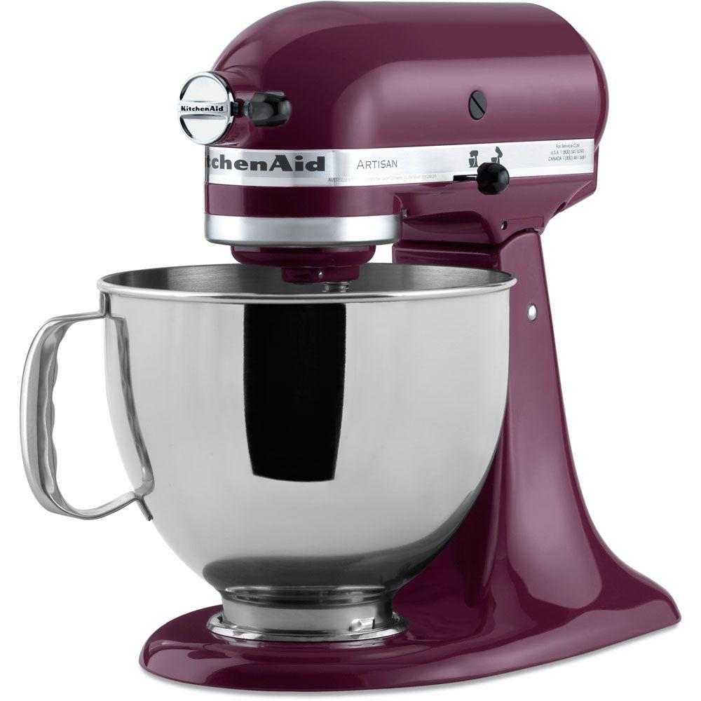 kitchenaid artisan 5 qt boysenberry stand mixer ksm150psby the home depot. Black Bedroom Furniture Sets. Home Design Ideas