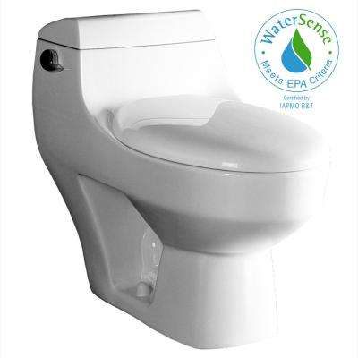 1-Piece 1.6 GPF Single Flush Elongated Toilet in White