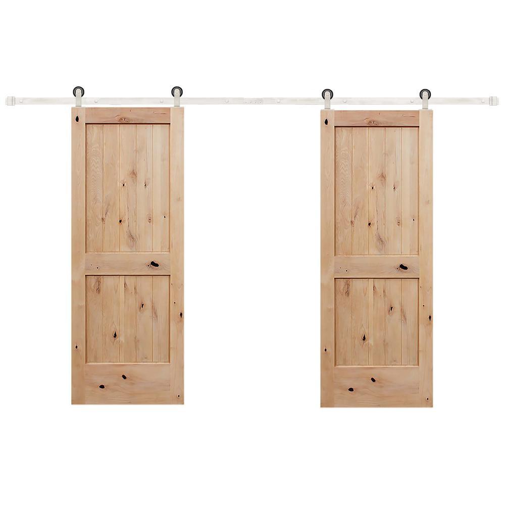 60 in. x 80 in. Biparting 2-Panel V-groove Solid Core Knotty Alder Barn Door W/Stainless Steel Sliding Door Hardware Kit