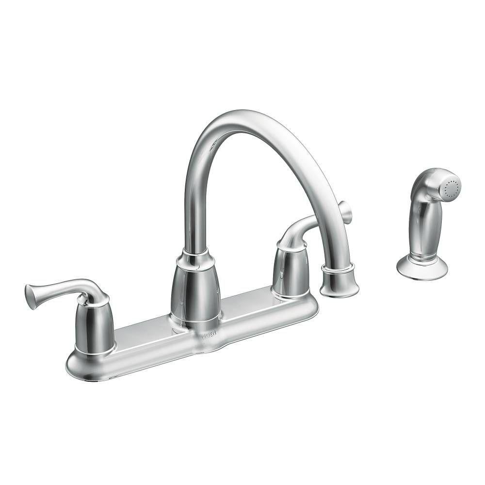 Moen Banbury 2 Handle Mid Arc Standard Kitchen Faucet With Side Sprayer In Chrome Ca87553 The Home Depot