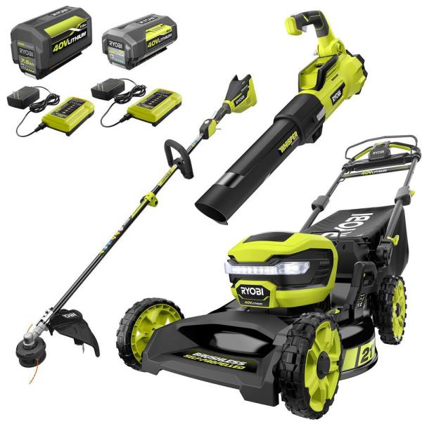 21 in. 40-Volt Brushless Walk Behind Self-Propelled Mower, String Trimmer, Leaf Blower w/ 7.5 Ah, 4.0 Ah Battery/Charger