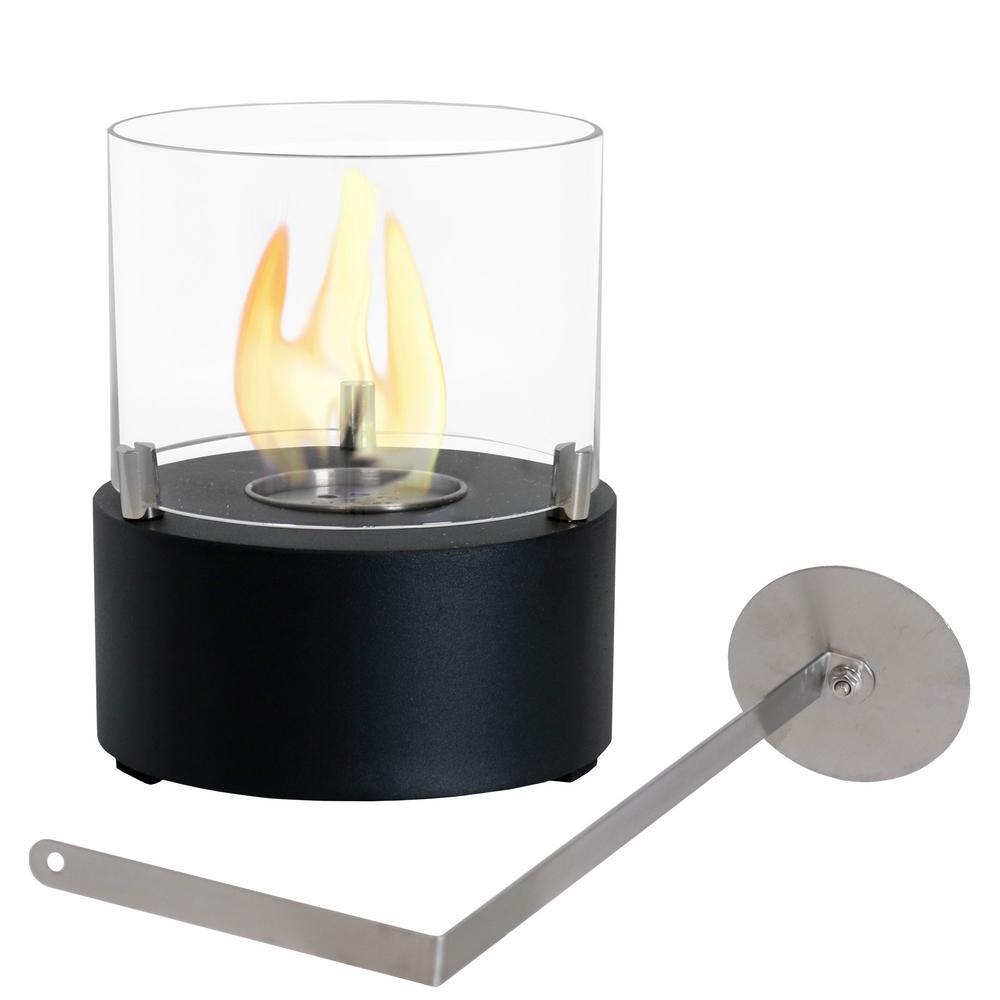 Tre Poli 7 in. Tabletop Bio-Ethanol Fireplace in Black