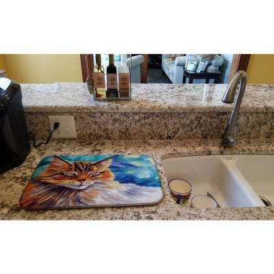 14 in. x 21 in. Multi-Color Maine Coon Cat Watching You Dish Drying Mat