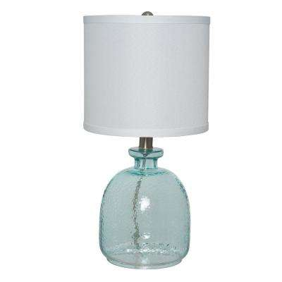 18.5 in. Ocean Blue Textured Glass Table Lamp with White Linen Shade
