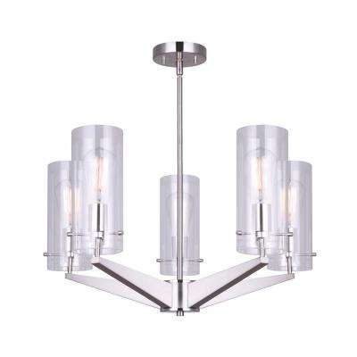 Joni 5-Light Brushed Nickel Chandelier with Clear Glass Shades