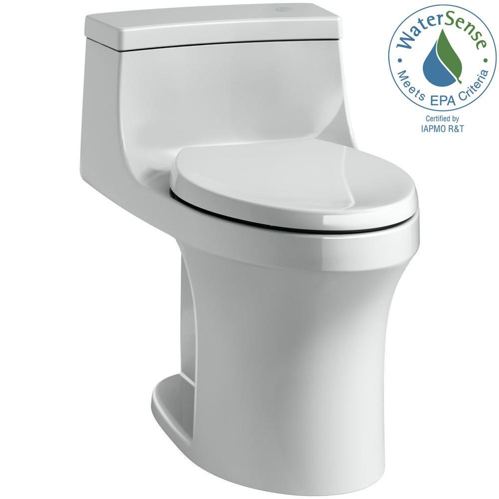 San Souci Touchless Comfort Height 1-Piece 1.28 GPF Single Flush Elongated Toilet with AquaPiston Flush in Ice Grey