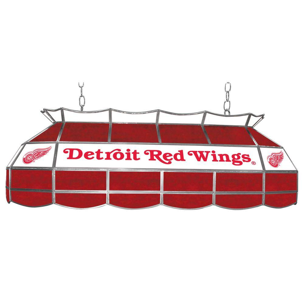 Trademark Global NHL Detroit Redwings 3-Light Stained Glass Tiffany Lamp