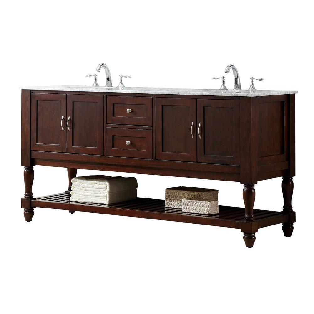 Direct vanity sink Mission Turnleg 70 inch Double Vanity in Dark Brown with Marble Vanity Top in Carrara White with... by Direct vanity sink
