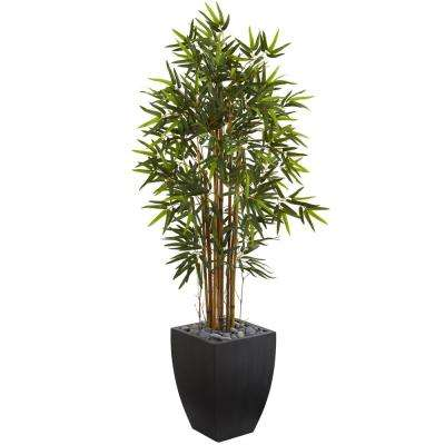 5 ft. Bamboo Artificial Tree in Black Wash Planter