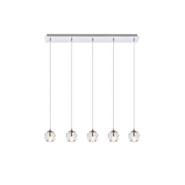 Timeless Home 32 in. L x 5.5 in. W x 3.7 in. H 5-Light Chrome with Clear Crystal Modern Pendant