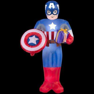 41.34 in. D x 38.19 in. W x 72.05 in. H Inflatable Captain America with Present and Shield