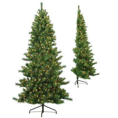 7 ft. Pre-Lit Tiffany Pine Half Artificial Christmas Tree with Clear Lights