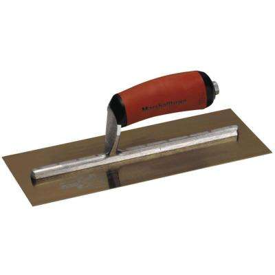 13 in. x 5 in. Curved Durasoft Handle Golden Stainless Steel Finishing Trowel
