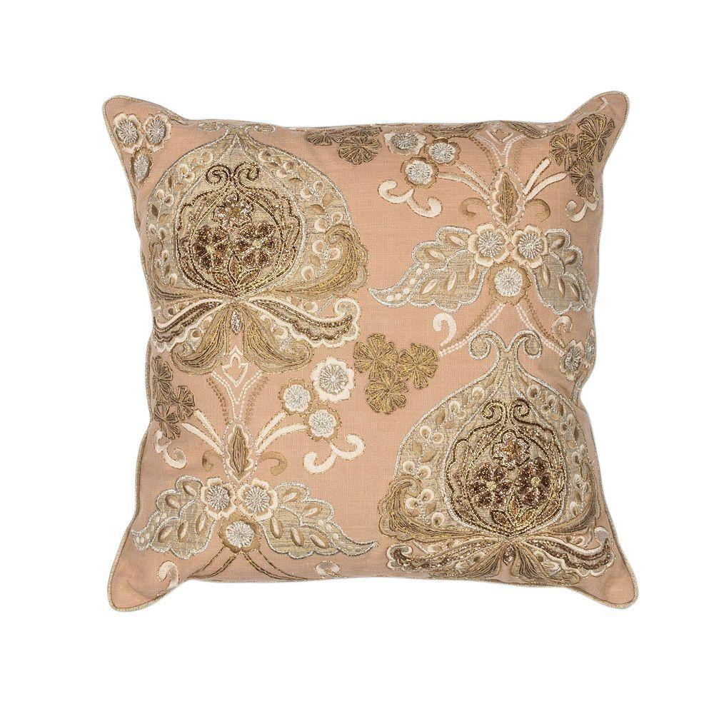 Metallics Queen'S Gold Floral Hypoallergenic Polyester 18 in. x 18 in. Throw Pillow