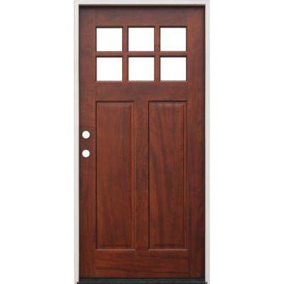 36 in. x 80 in. Right-Hand Inswing 6-Lite Clear Insulated Glass Stained Mahogany Prehung Front Door with 6-9/16 in. Jamb