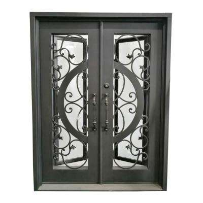 62 in. x 81 in. Matte Black Right-Hand Inswing Clear Iron Double Prehung Front Door
