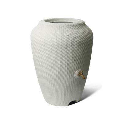 Wicker 50 Gal. White Rain Barrel