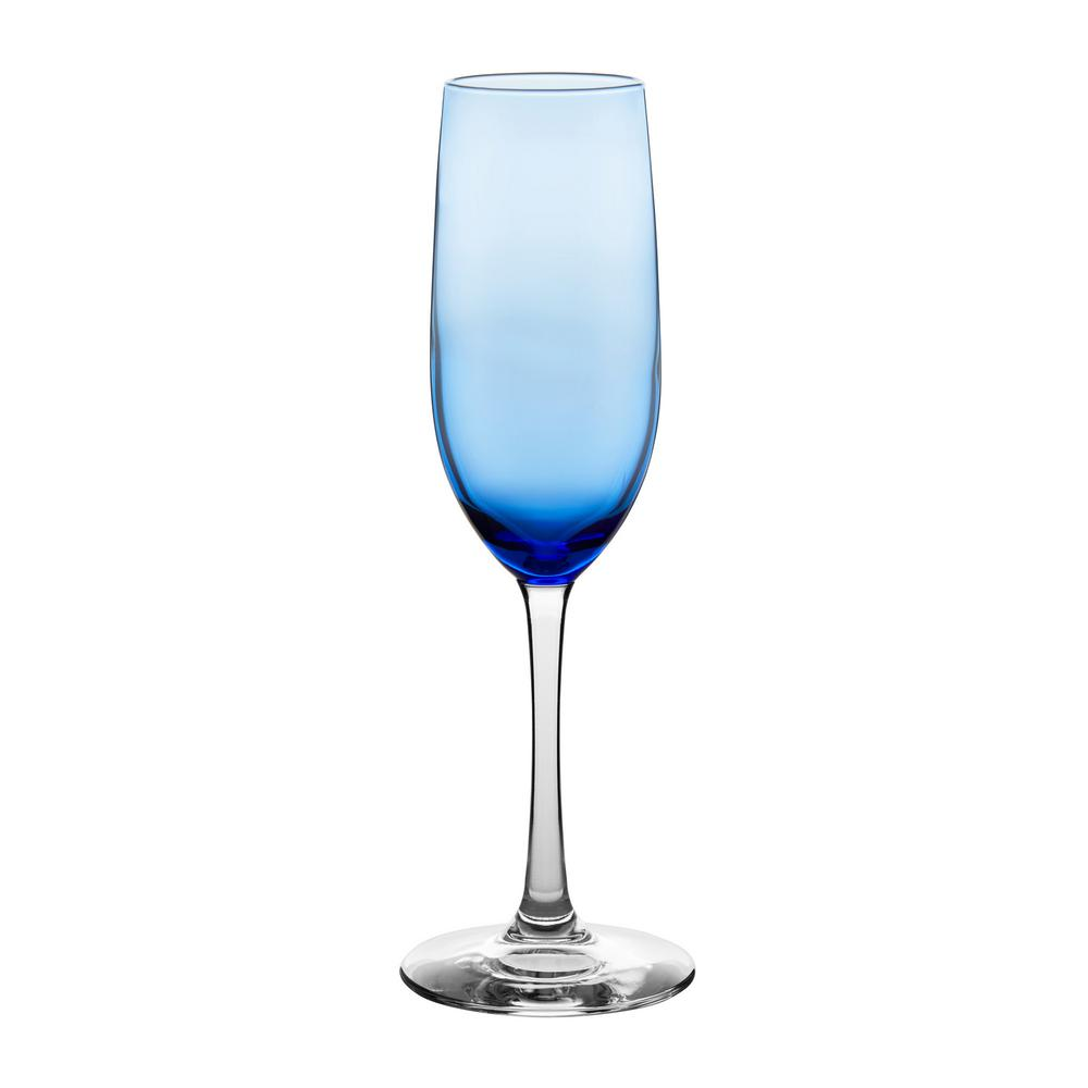 Vina 8 oz. Blue Glass Champagne Flute Set (6-Pack)