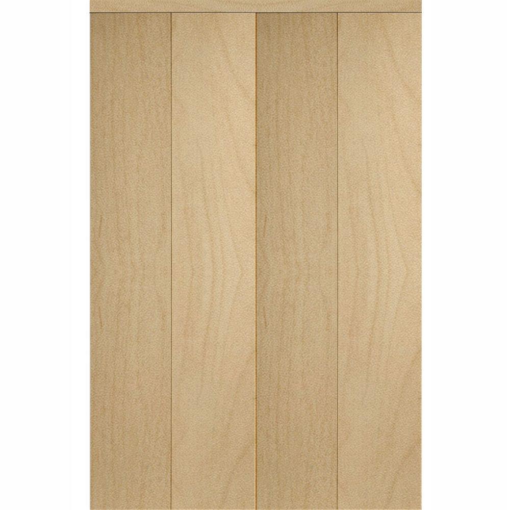 Smooth Flush Solid Core Primed MDF Interior Closet Bi Fold Door With Trim
