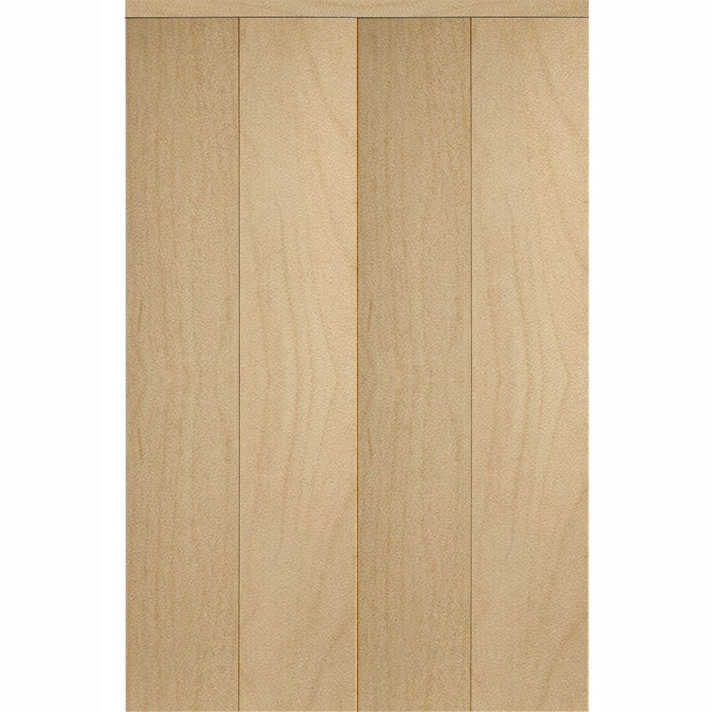 Impact Plus 60 in. x 96 in. Smooth Flush Solid Core Stain Grade Maple MDF Interior Closet Bi-Fold Door with Matching Trim