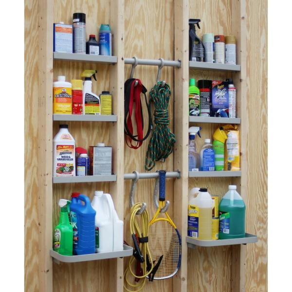 VersaCaddy 48 in. x 48 in. Shelving and Hooks Organization Kit with 8 Durable PVC Shelves and 4 Hooks