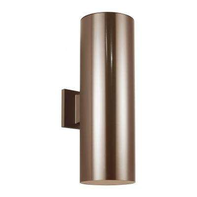 Outdoor Cylinder Collection 6 in. W 2-Light Bronze Outdoor Wall Lantern Sconce