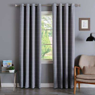 Room Darkening Grid Curtains in Grey - 84 in. L x 52 in. W (2-Pack)