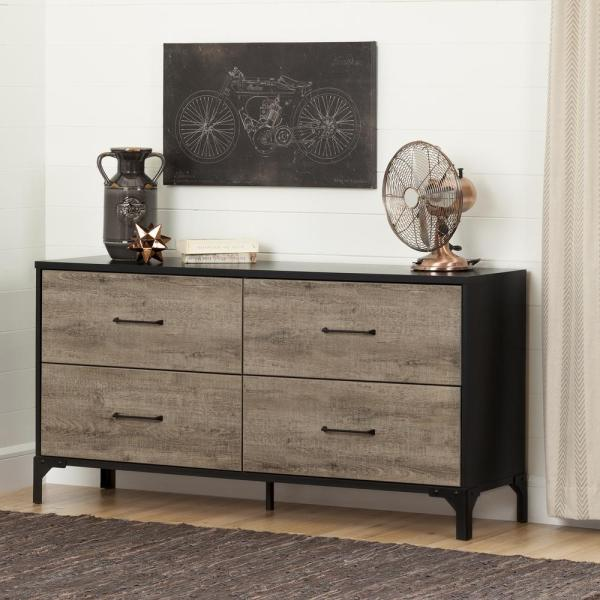 Valet 4-Drawer Weathered Oak and Ebony Dresser