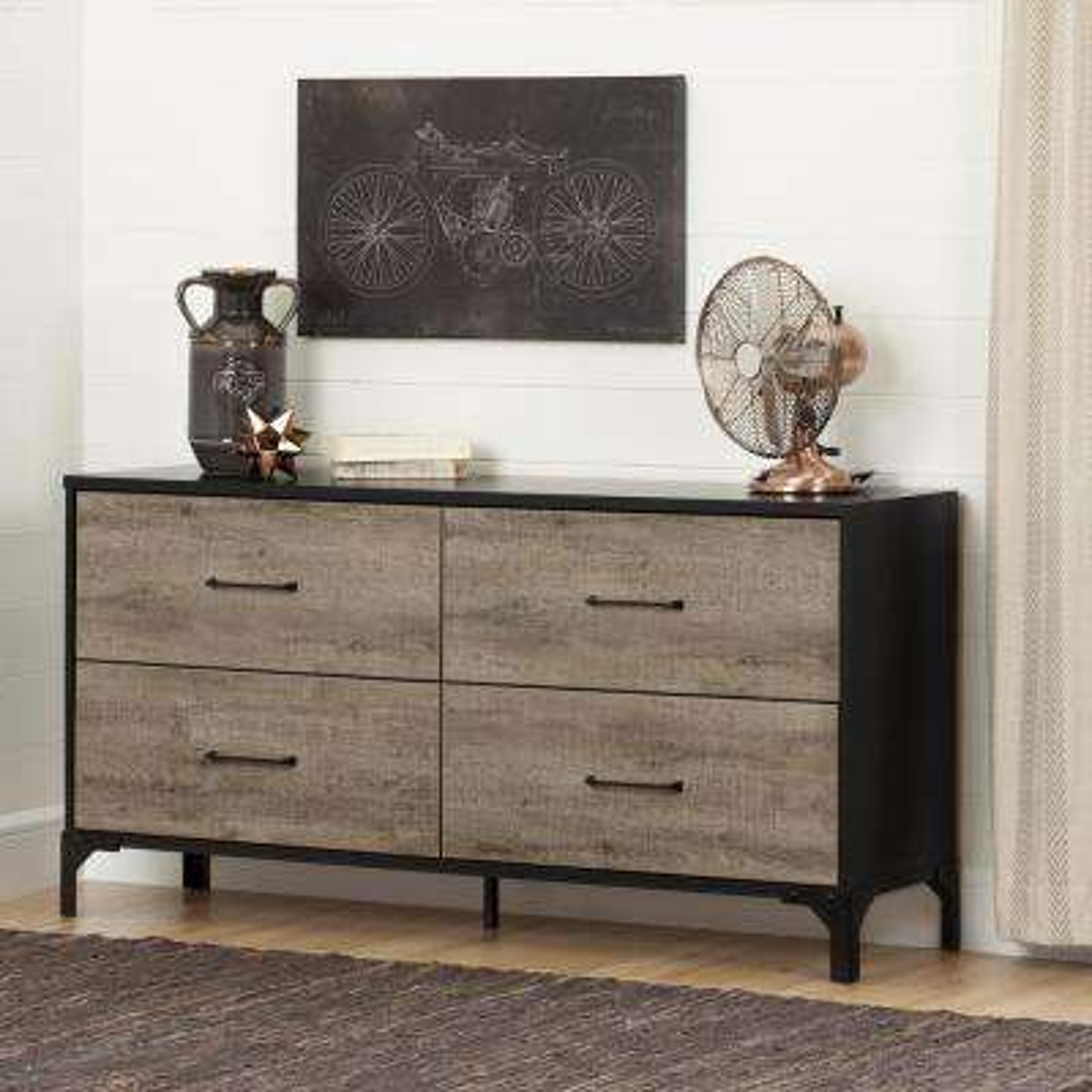 Valet 4-Drawer Weathered Oak and Ebony Dresser