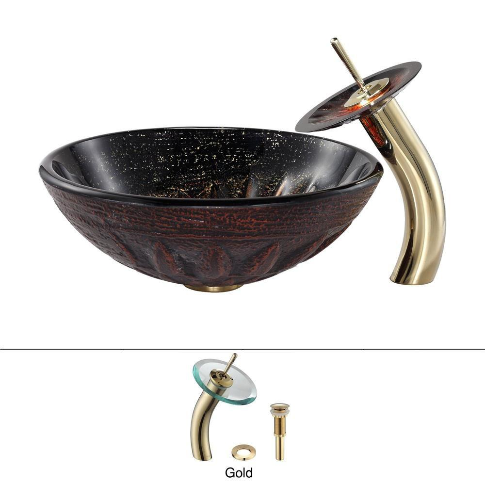 KRAUS Magma Glass Vessel Sink and Waterfall Faucet in Gold