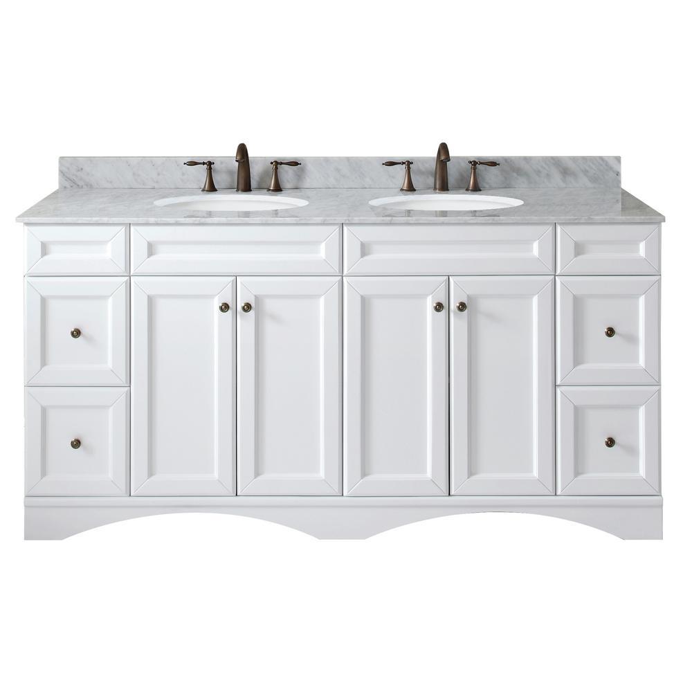 Virtu USA Talisa 71.7 inch W x 22 inch D Vanity in White with Marble Vanity Top in White... by Virtu USA