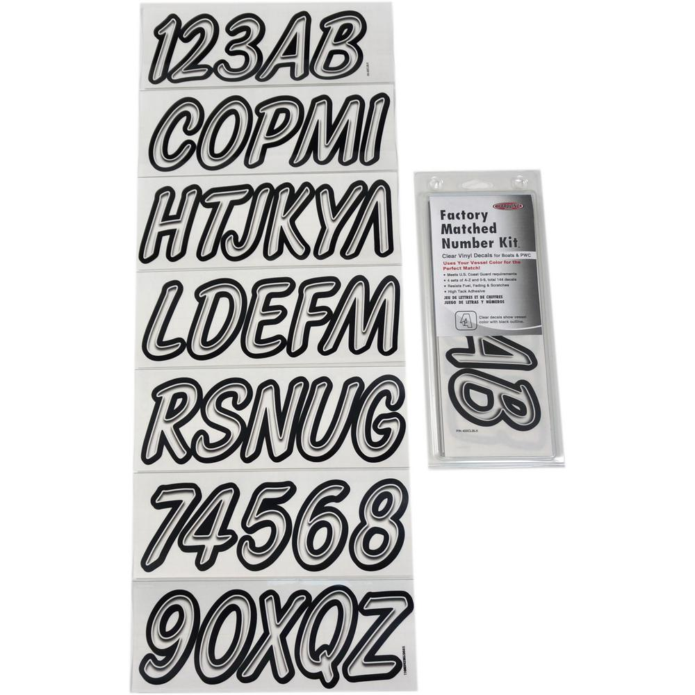 Hardline Products Boat Lettering Clear and Black Registration Kit