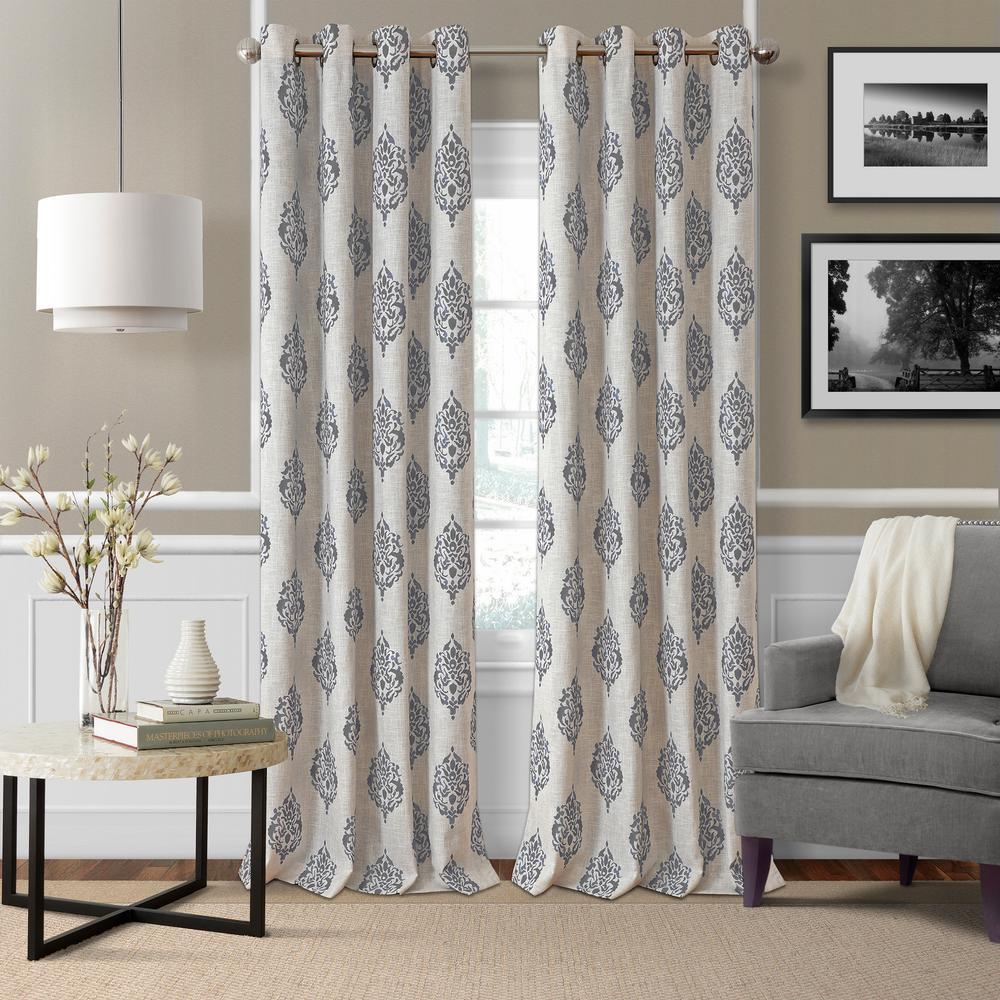 Navara Gray Single Blackout Window Curtain Panel - 52 inch W x 95 inch L by