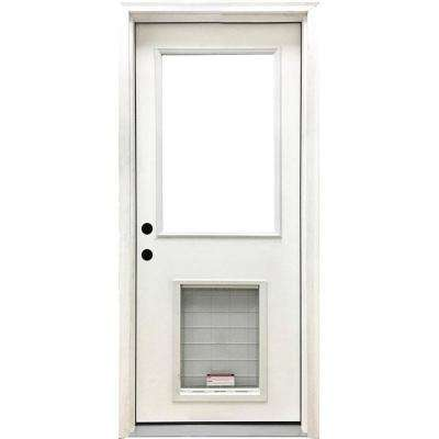 36 in. x 80 in. Classic Clear Half Lite RHIS White Primed Fiberglass Prehung Front Door with SL Pet Door