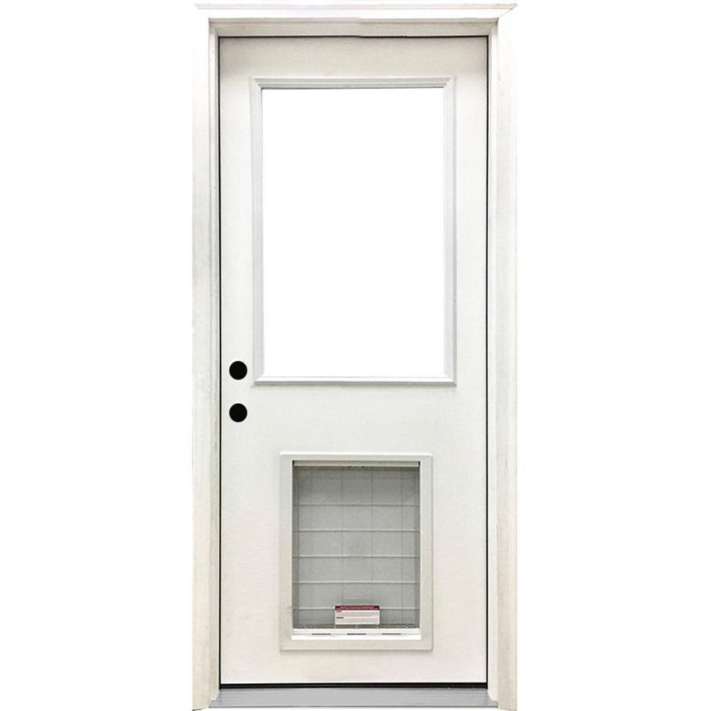 Steves Sons 36 In X 80 In Classic Clear Half Lite Rhis White Primed Fiberglass Prehung Back Door With Sl Pet Door Fwth 36slp 4irh The Home Depot