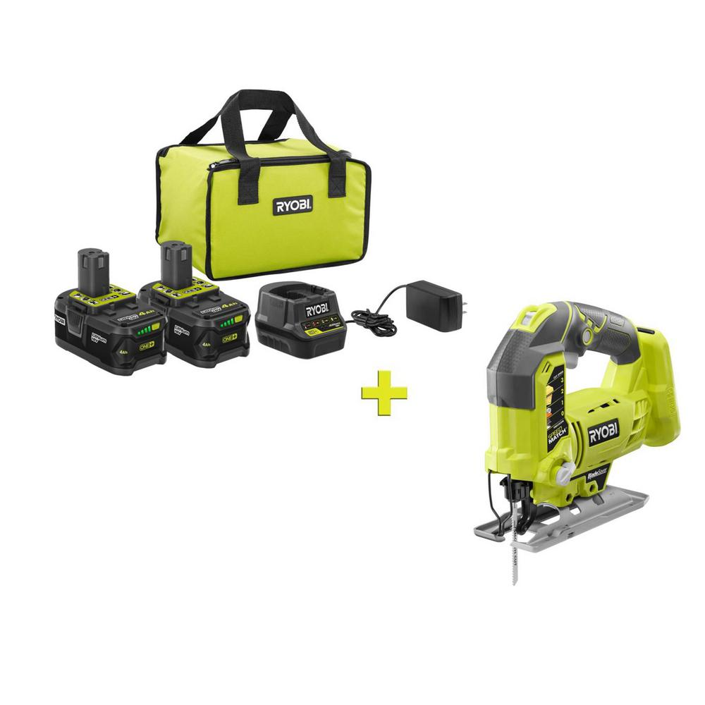 RYOBI 18-Volt ONE+ High Capacity 4.0 Ah Battery (2-Pack) Starter Kit with Charger and Bag with FREE ONE+ Orbital Jig Saw was $291.0 now $99.0 (66.0% off)