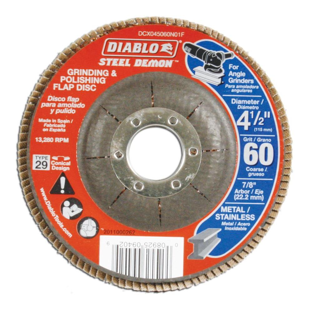 DIABLO 4-1/2 in. 60-Grit Steel Demon Grinding and Polishing Flap Disc with Type 29 Conical Design