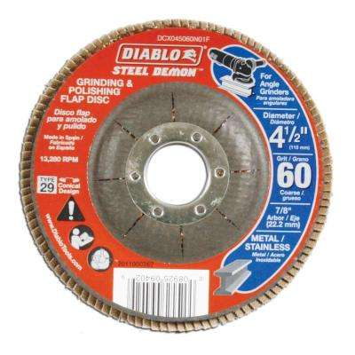 4-1/2 in. 60-Grit Steel Demon Grinding and Polishing Flap Disc with Type 29 Conical Design (5-Pack)