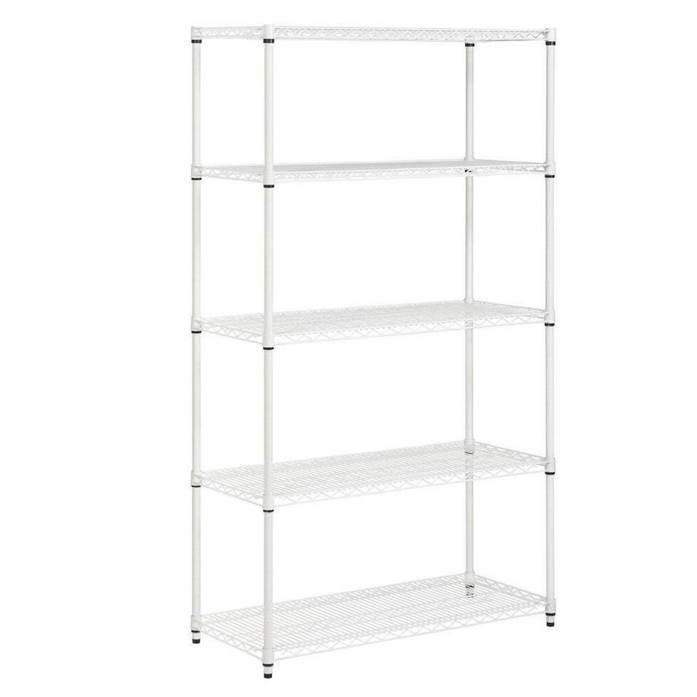 72 in. H x 42 in. W x 18 in. D 5-Shelf Steel Shelving Unit in White
