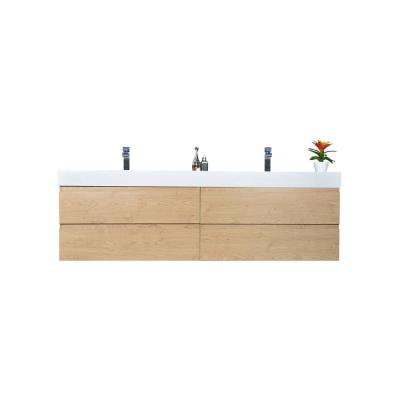 Fortune 80 in. W Bath Vanity in New England Oak with Reinforced Acrylic Vanity Top in White with White Basins