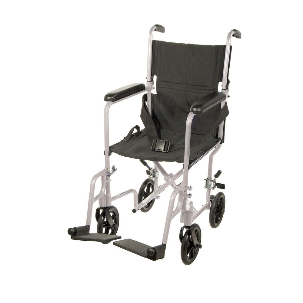 drive lightweight transport wheelchair in silver with 17 in seat