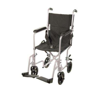 Lightweight Transport Wheelchair in Silver with 17 in. Seat