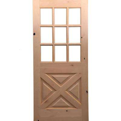 32 in. x 80 in. Rustic Knotty Alder 9-Lite Clear Glass with X-Panel Unfinished Wood Front Door Slab