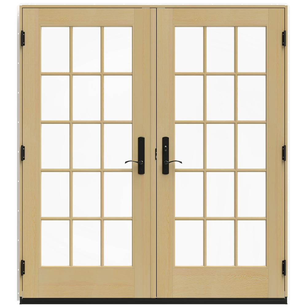 Jeld wen 72 in x 80 in w 4500 white clad wood left hand for Home depot wood french doors