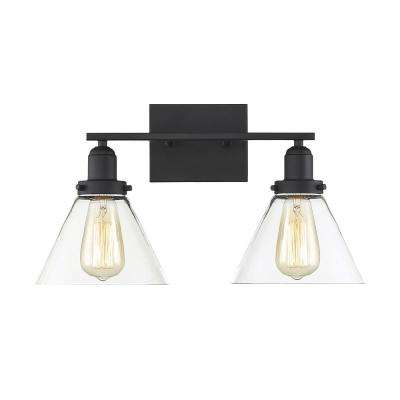 17.75 in. 2-Light Black Vanity Light with Clear Glass